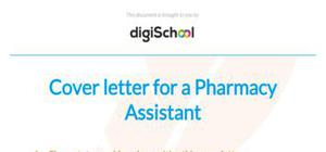 Cover letter for a pharmacy assistant