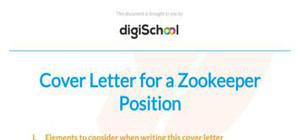 Zookeeper cover letter example