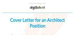 Cover letter for an architect position