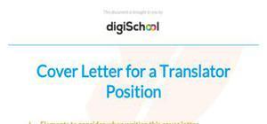 Cover letter for a translator position