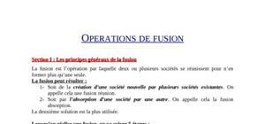opérations de fusion