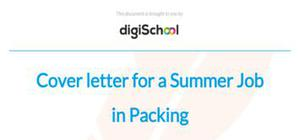 Cover letter for a summer job in packing