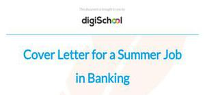 Cover letter for a banking summer job