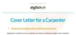 Cover letter for a carpenter position