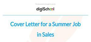 Cover letter for a summer job in sales