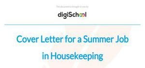 Cover letter for a summer job in housekeeping