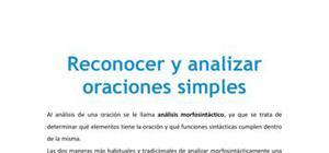 Reconocer y analizar oraciones simples - Lengua castellana y literatura - 1 Bachillerato