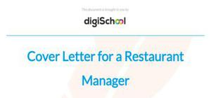 Cover letter for a restaurant manager