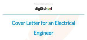 Cover letter for an electrical engineer