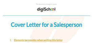 Cover letter for a salesperson