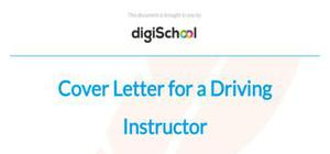 Cover letter for a driving instructor