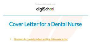 Cover letter for a dental nurse