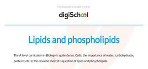 Lipids and phospholipids - Biology - A level