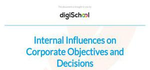 Internal influences on corporate objectives and decisions - Business Studies - A Level