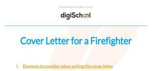 Cover letter for a firefighter