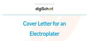 Cover letter for an electroplater position