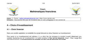 Mathématiques financières et choix d'investissement