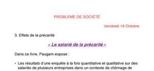 Cours de problèmes de sociétés en faculté de Sciences Sociales
