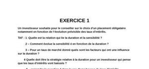 Exercices sur les  obligations