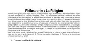 Cours de Philosophie : Religion