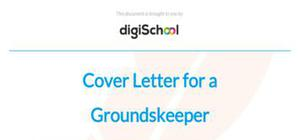Cover letter for a groundskeeper position