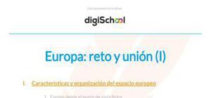 Reto y unión en Europa - Historia - 1 Bachillerato