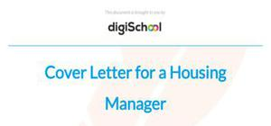 Cover letter for a housing manager position