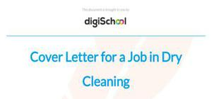 Cover letter for a job in dry cleaning