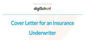 Cover letter for an insurance underwriter position