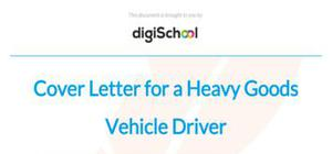 Cover letter for a heavy goods vehicle driver position