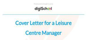 Cover letter for a leisure centre manager position