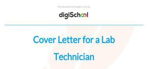 Cover letter for a lab technician position