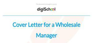 Cover letter for a wholesale manager position