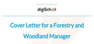 Cover letter for a forestry and woodland manager position