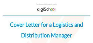 Cover letter for a logistics and distribution manager position