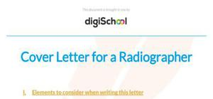 Cover letter for a radiographer position