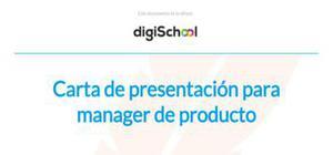Carta de presentación para manager de producto