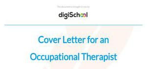 Cover letter for an occupational therapist position