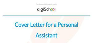 Cover letter for a personal assistant position