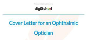 Cover letter for an ophtalmic optician position