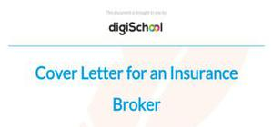 Cover letter for an insurance broker position