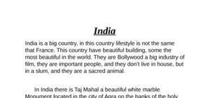 l'inde texte d'anglais