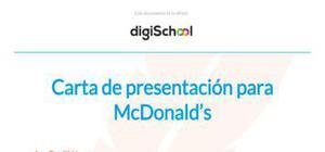 Carta de presentación para McDonald's
