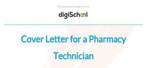Cover letter for a pharmacy technician position