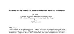 Survey on security issues in file management in cloud computing environment