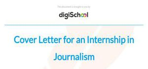 cover letter for an internship in journalism - Cover Letter Template For Internship