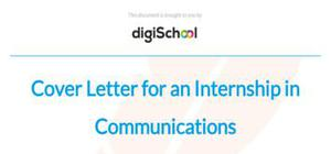 Cover letter for an internship in Communications