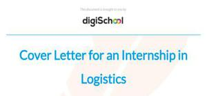 Cover letter for an internship in Logistics