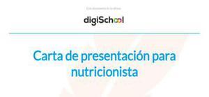 Carta de presentación para nutricionista
