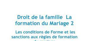 Droit de la famille : la formation du mariage 2